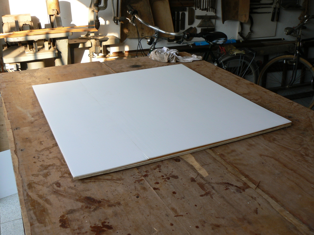 The roof of the wooden webcam server case, made of two sheets of white ...